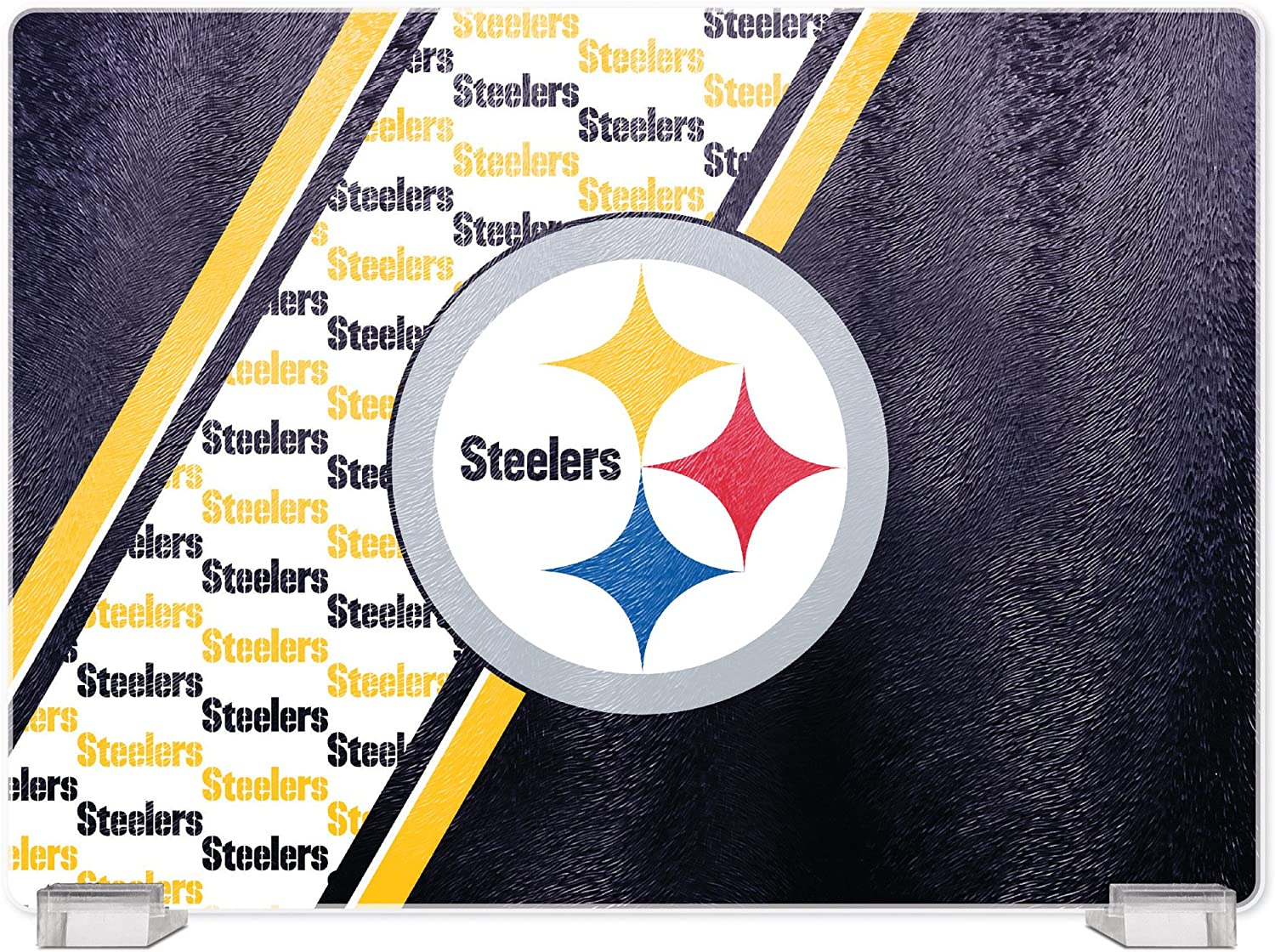 NFL Pittsburgh Steelers Tempered Glass Cutting Board with Display Stand
