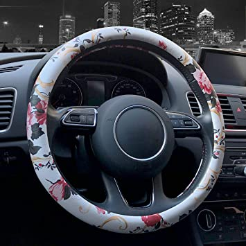"15/"" Car Truck Steering Wheel Cover PU Leather Auto Car Cool Universal Fit Size M"