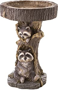 Plow & Hearth Two Playful Raccoon Pair in a Tree Stump Resin Birdbath Hand-Painted All-Weather Wood-Look Resin Landscape, Yard and Garden Accent, 17