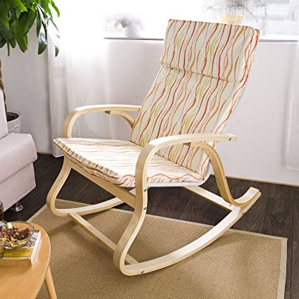 SoBuy Comfortable Relax Rocking Chair, Gliders, Lounge Chair With Cotton  Fabric Cushion,FST15