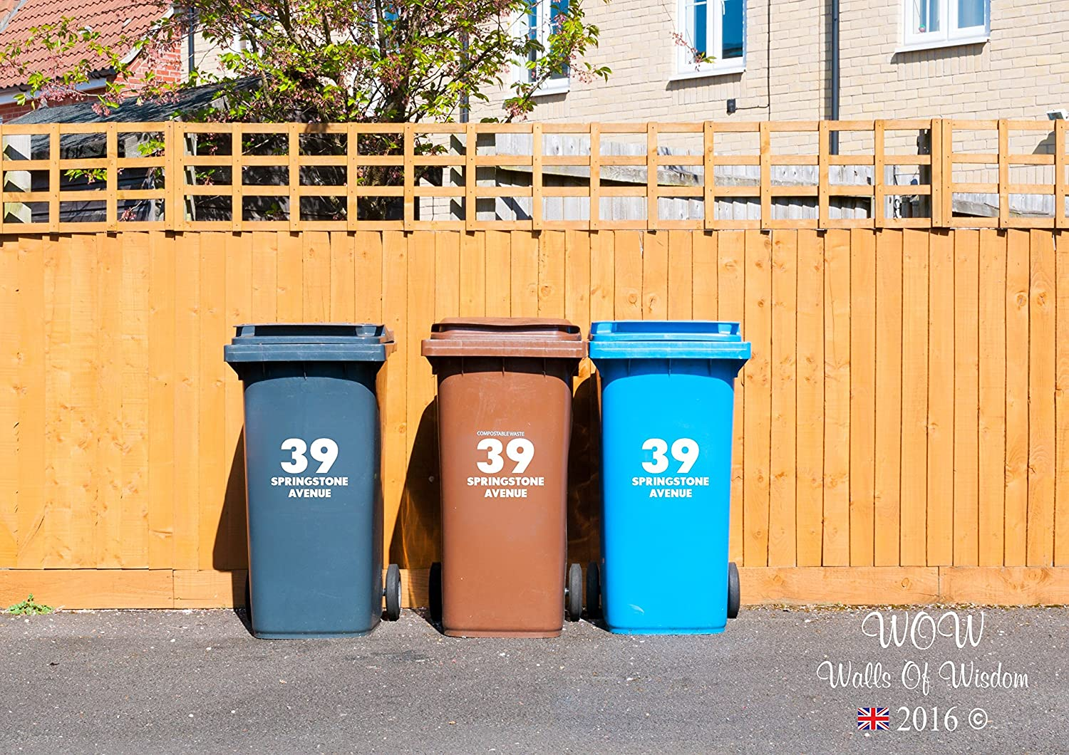 3 x Personalised Wheelie Bin Stickers House Number Street Name, Home, Office, Business, Easy to Apply. Walls of Wisdom