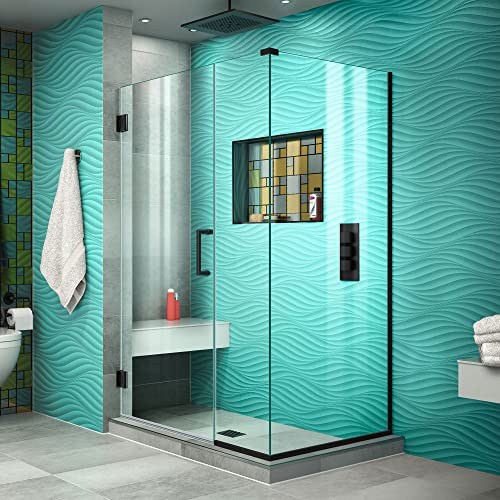 DreamLine Unidoor Plus 40 in. W x 30 3 8 in. D x 72 in. H Frameless Hinged Shower Enclosure in Satin Black, SHEN-24400300-09
