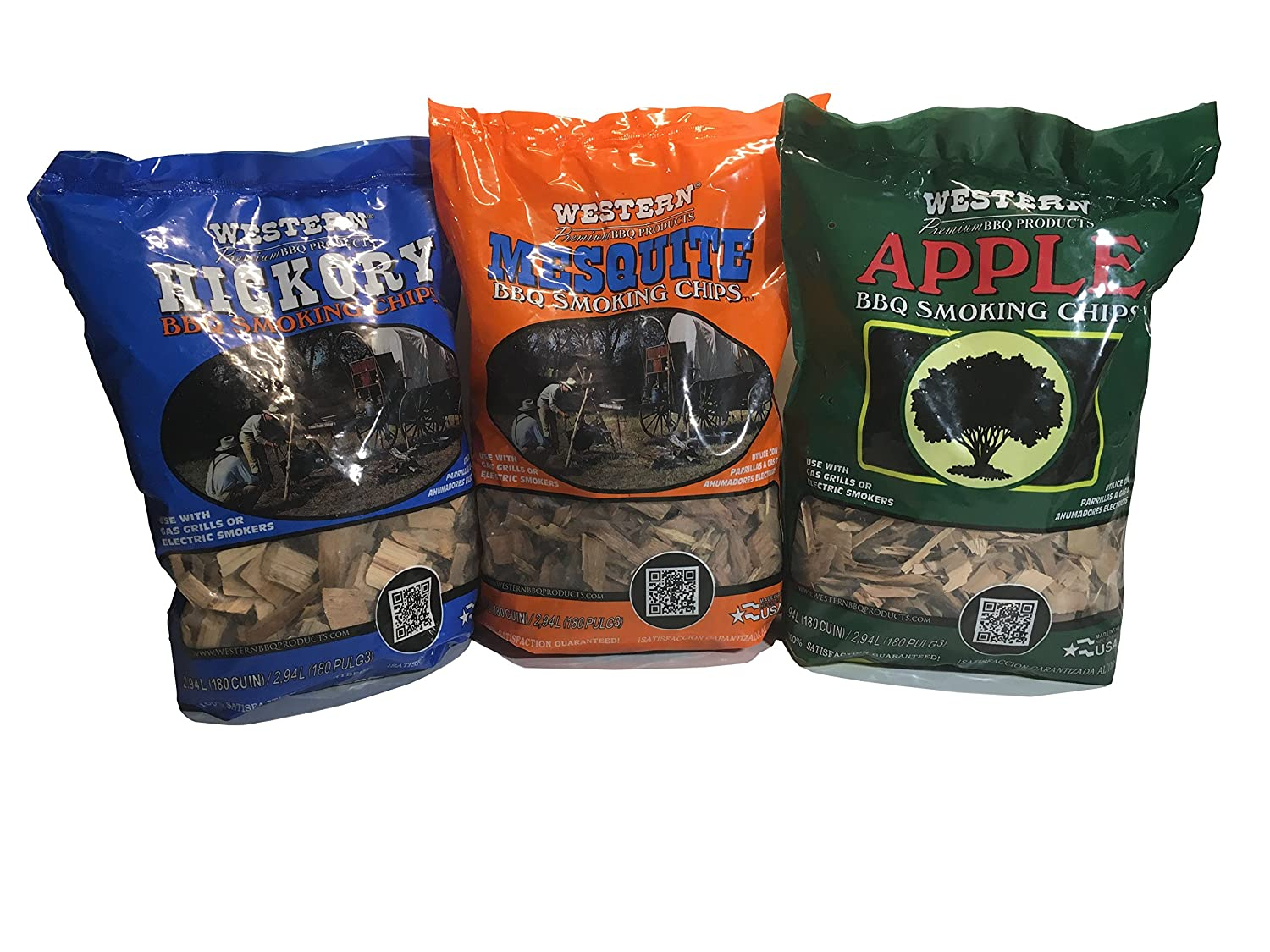 Western Perfect BBQ Smoking Wood Chips Variety Pack - Bundle (3) - Most Popular Flavors - Apple, Hickory & Mesquite