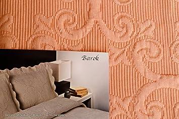 Jacquard couvre lit) : orange (saumon 220 x 260 cm barok en