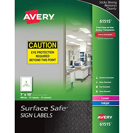 amazon com avery surface safe sign labels 7 x 10 removable