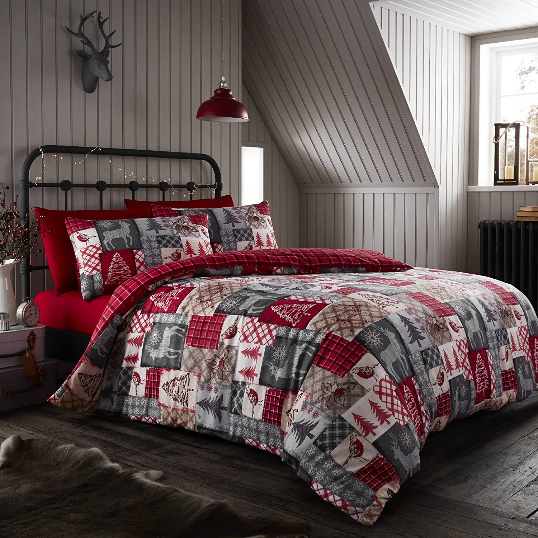 Happy Linen Co Christmas Patchwork Red Double Reversible Duvet Cover Bedding Set Happy Linen Company