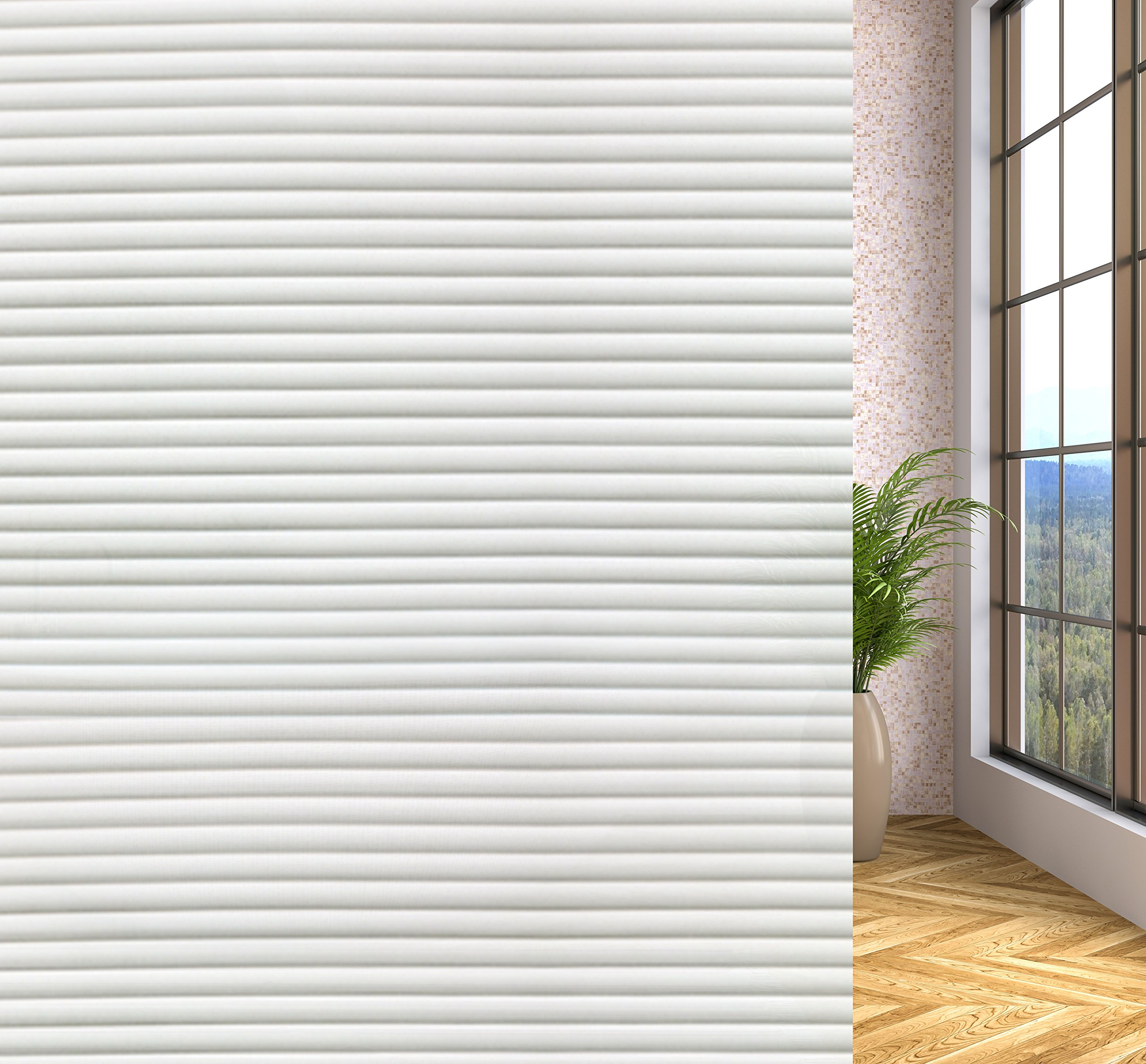 Privacy Window Film Non Adhesive Static Cling Window Film Decorative for Bathroom Kitchen Office Glass Door Wall 35.4-By-78.7-inch (Strip)