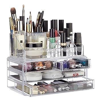 Relaxdays Make Up Organizer Mit 4 Schubladen, Lippenstift Halter, Ablagen  Für Kosmetik, Acryl