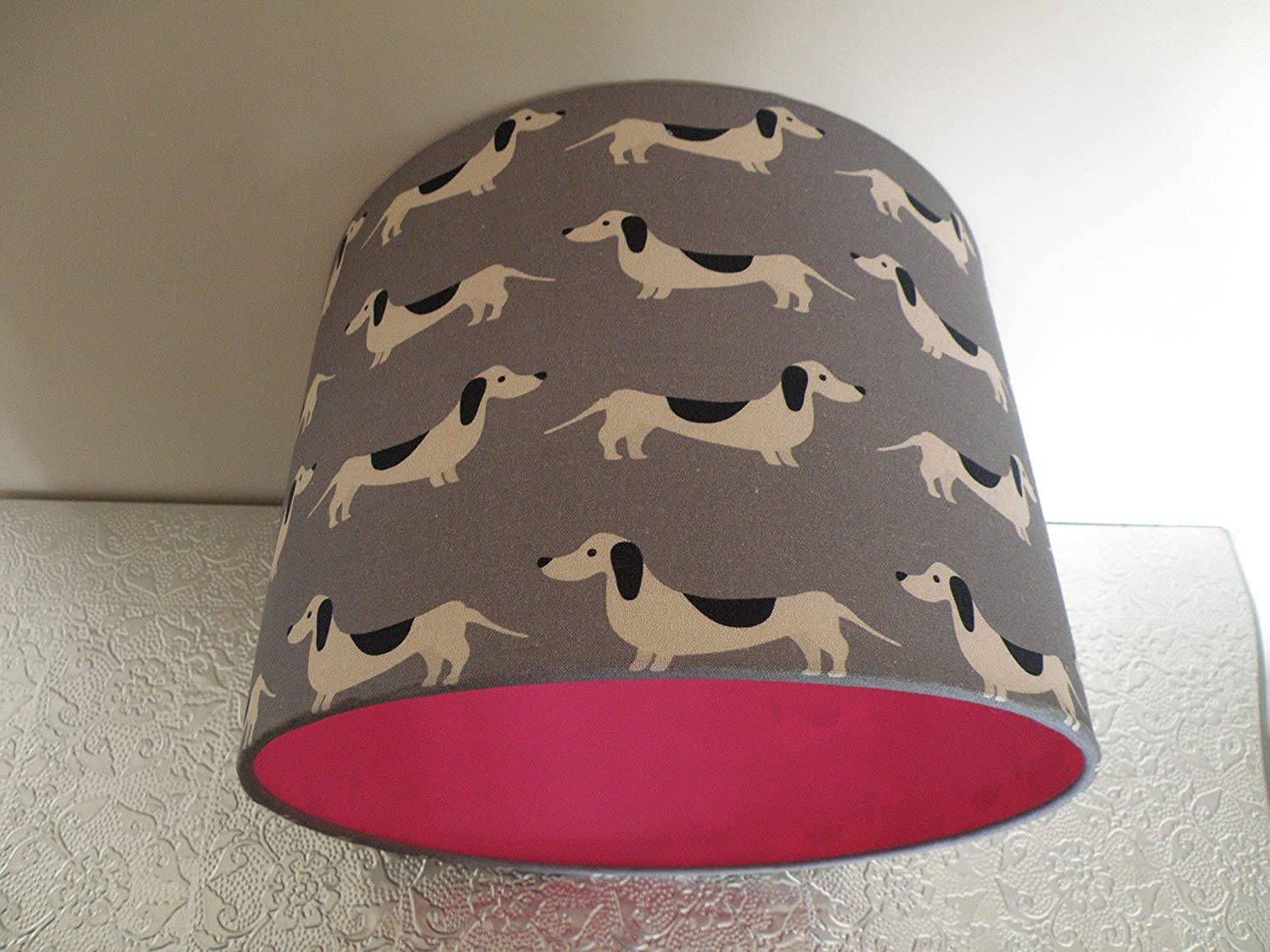 Dachshund/Sausage Dog Lampshade with a choice of fabric and liner