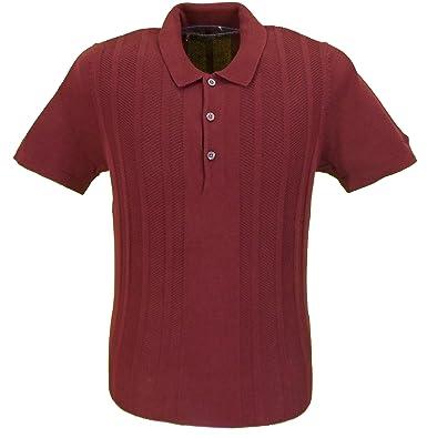 aaa3a4549 Ben Sherman Burgundy Knitted Waffle Stripe Retro Polo Shirt ... (Small)   Amazon.co.uk  Clothing