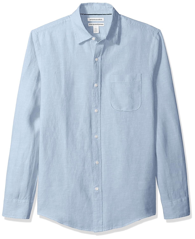 fd788ae0332d Amazon.com  Amazon Essentials Men s Slim-Fit Long-Sleeve Linen Shirt   Clothing