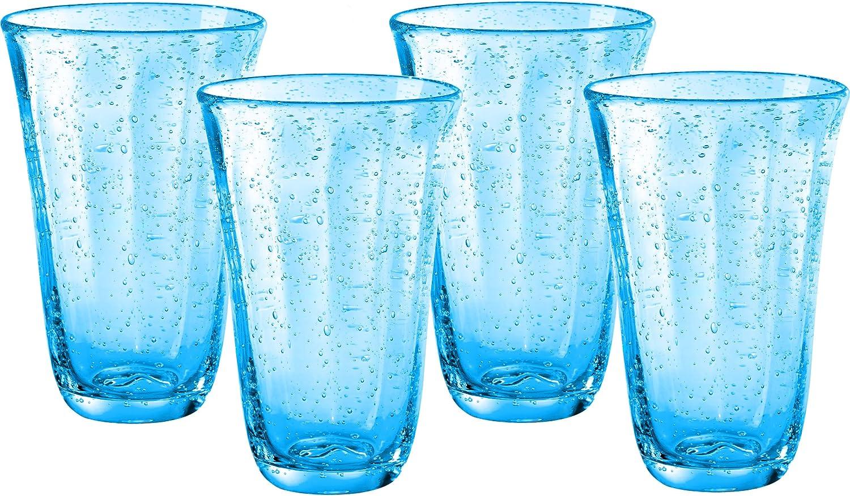 Artland Savannah Turquoise Bubble Glass 18 Ounce Highball Tumbler, Set of 4