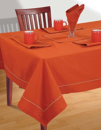 Shalinindia Solid Color Rusty Orange Dining Room Square Tablecloth 60 X 60  Inch Spring Party Decorations