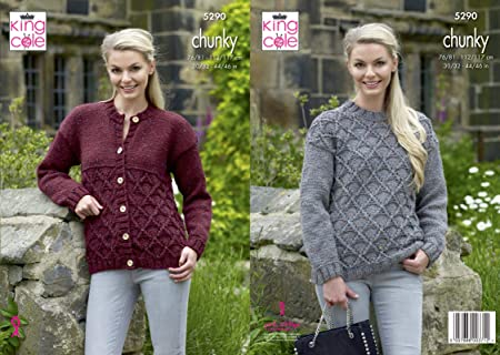 b65654f4666d King Cole 5290 Knitting Pattern Womens Sweater and Cardigan in ...