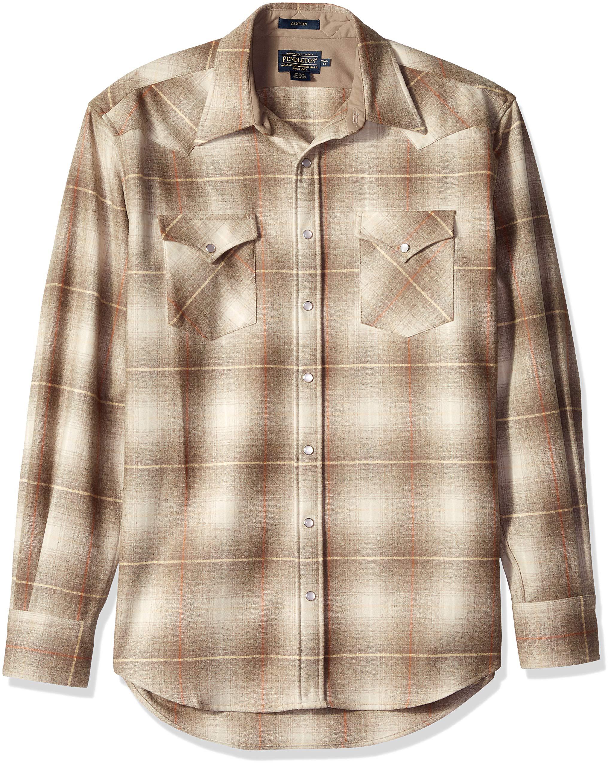 Pendleton Men's Tall Size Big & Tall Long Sleeve Canyon Shirt, Santa Clara tan XL