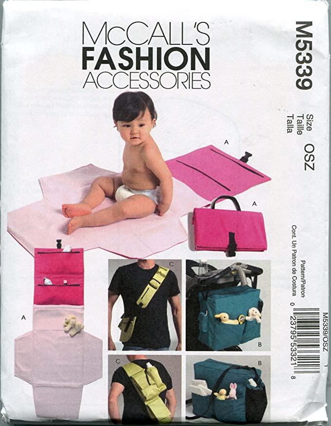 Amazon.com: McCalls Sewing Pattern M5339 One Size Diaper Bags and Changing Kit: Home & Kitchen