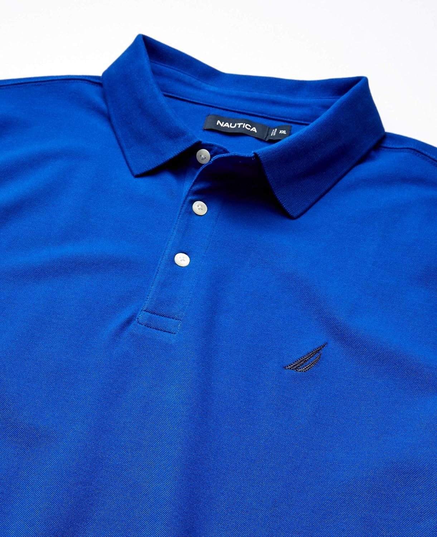 Nautica Men's Short Sleeve Solid Stretch Cotton Pique Polo Shirt Bright Cobalt