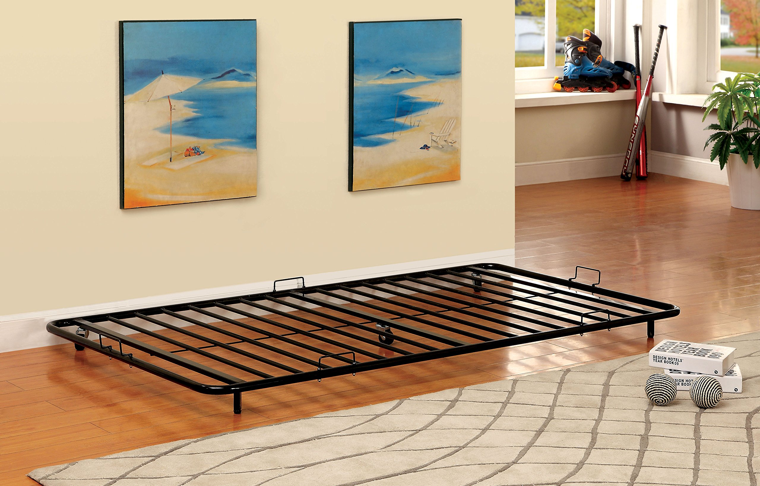 HOMES: Inside + Out Furniture of America Newton Metal Twin Trundle, Black