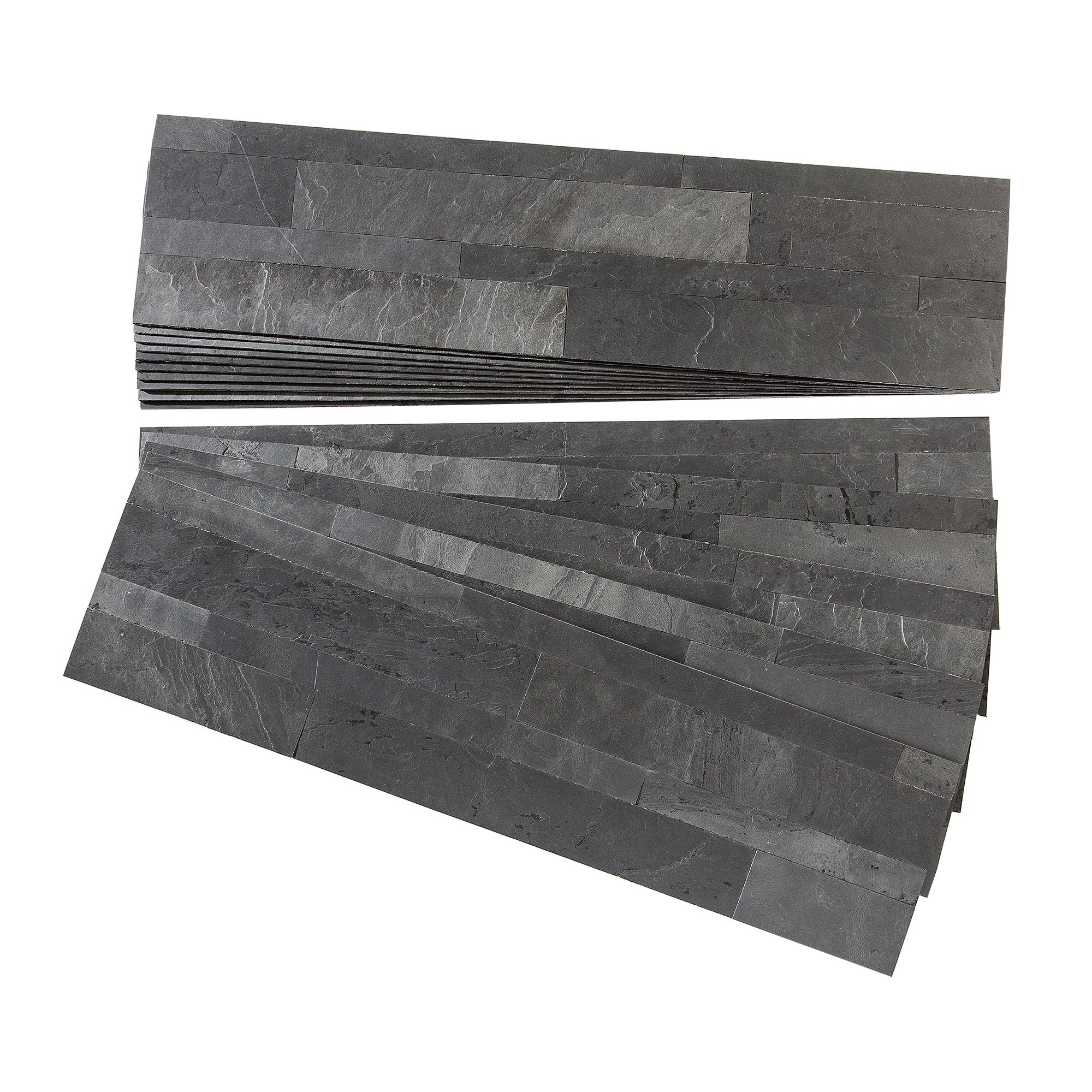 Aspect Peel and Stick Stone Overlay Kitchen Backsplash - Charcoal Slate (Approx. 15 sq ft Kit) - Easy DIY Tile Backsplash