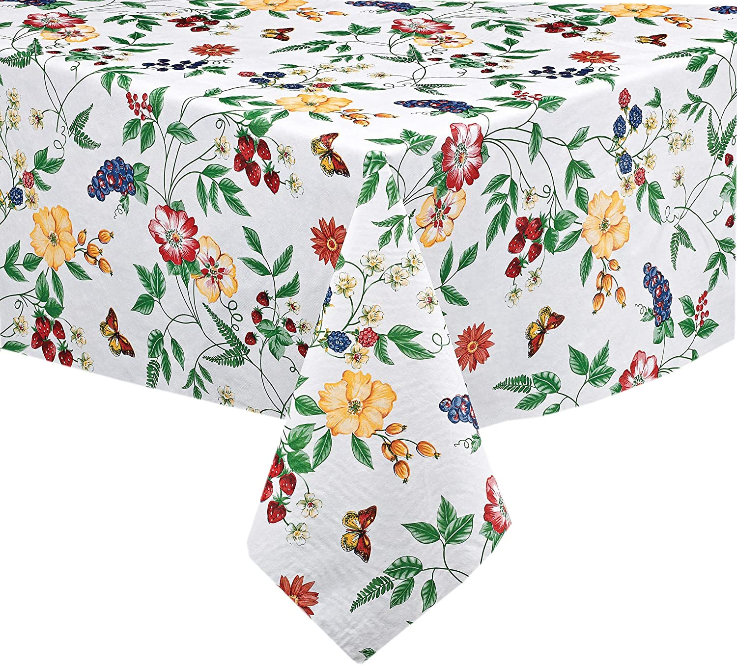 """English Berry Garden Heavy 4 Gauge Vinyl Flannel Backed Tablecloth, Strawberry Garden Floral Indoor/Outdoor Wipe Clean Picnic, Kitchen, Dining Room Tablecloth - 52"""" x 70"""" Oblong/Rectangle"""