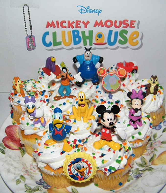 Incredible Amazon Com Clubhouse Disney Mickey Mouse Deluxe Mini Cake Toppers Funny Birthday Cards Online Overcheapnameinfo