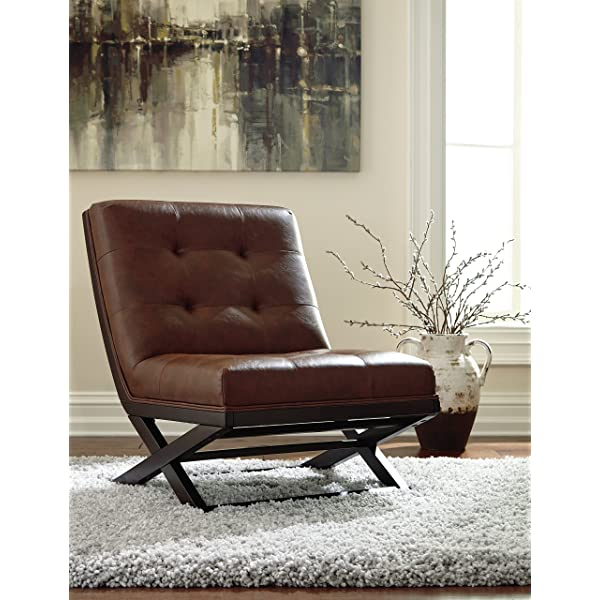 Ashley Furniture Signature Design Sidewinder Accent Chair - Contemporary Style - Brown Faux Leather - Dark Brown