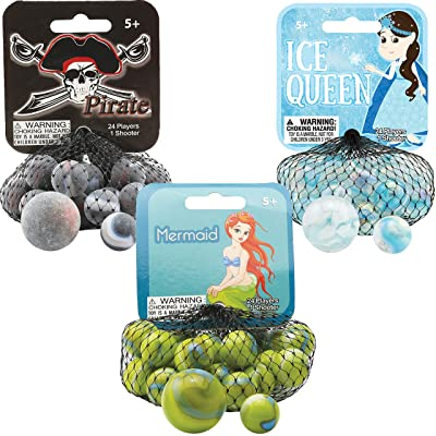 Mega Marbles 3 Pack - Pirate, Ice Queen, Mermaid Game Nets - Includes 1 Shooter Marble & 24 Player Marbles Per Net: Sports & Outdoors