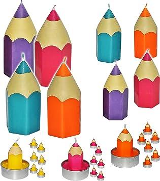 GELB 5 cm hoch Schuleinf/ührung // Geburtstagskerzen Stift Tis.. Tischkerze 6 TLG Set /_ Teelichter // kleine Kerzen Schulanf/änger Bunte Stifte
