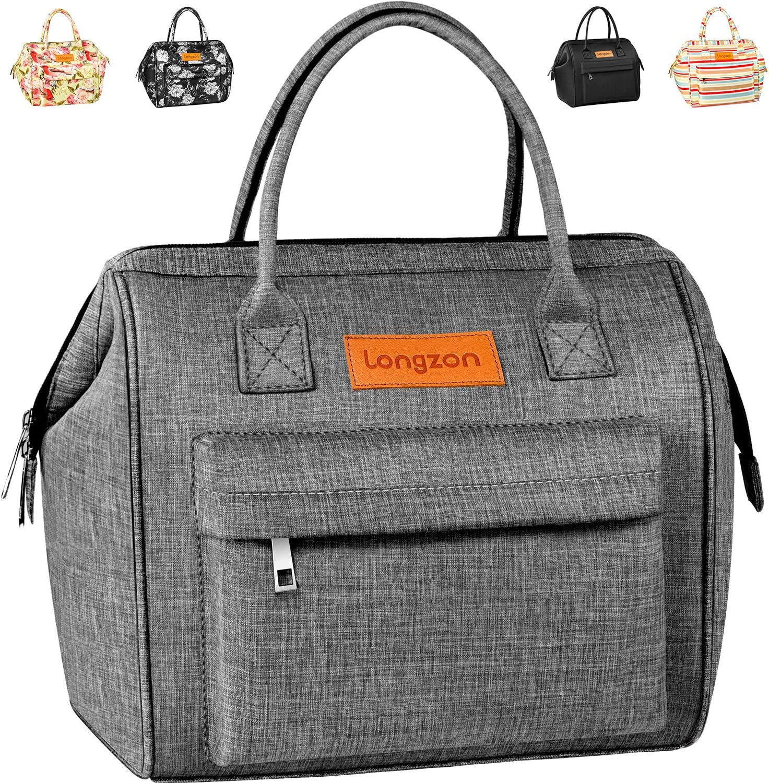 longzon 15L Bolsa Térmica Porta Alimentos Bolsa Térmica Comida Bolsas Isotermicas para Llevar Comida Almuerzo para adultos hombres para Trabajo Playa Viaje,Gris
