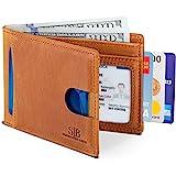 SERMAN BRANDS RFID Blocking Slim Bifold Genuine Leather Thin Minimalist Front Pocket Wallets for Men