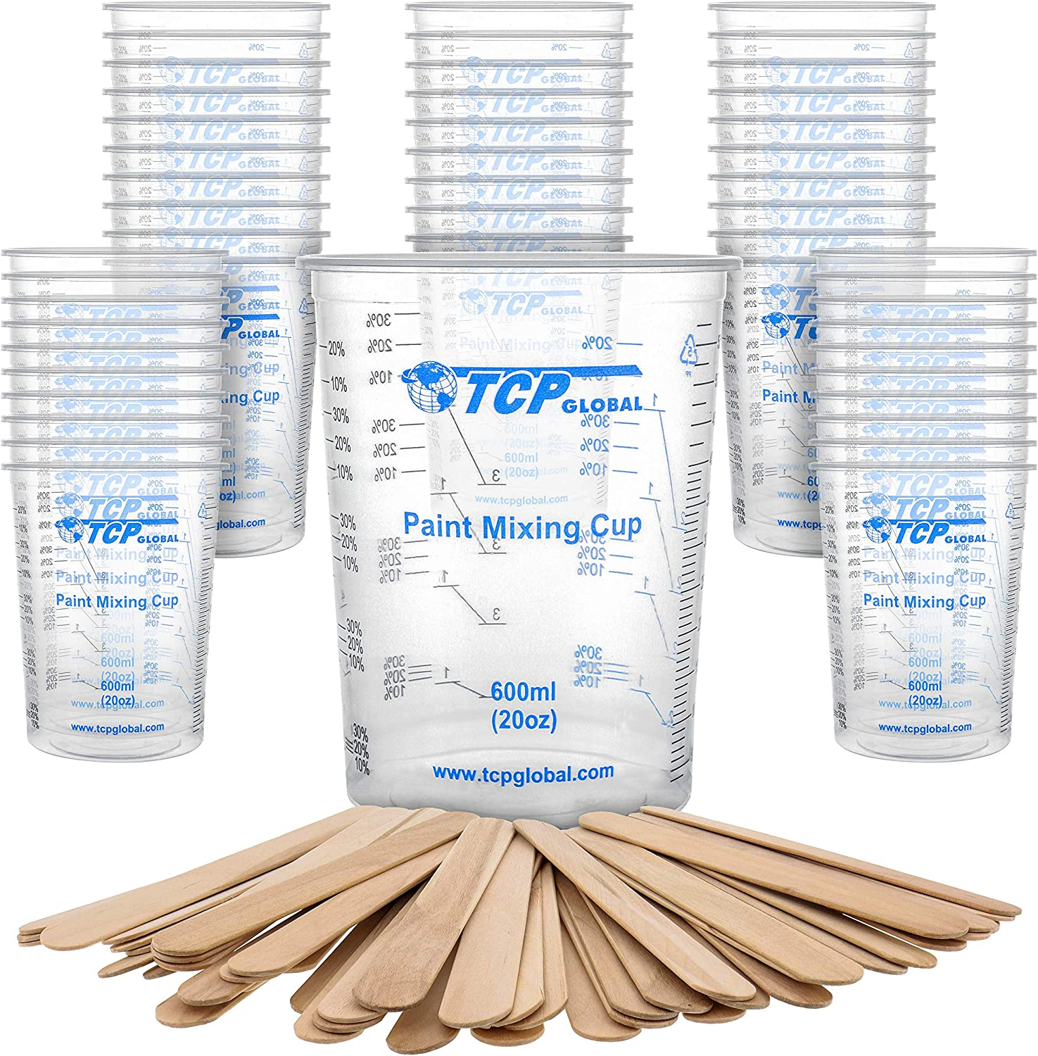 Measuring Ratios 2-1 Art 4-1 Baking Disposable Flexible Clear Graduated Plastic Mixing Cups Epoxy ML 3-1 Use for Paint Resin 1000ml TCP Global 32 Ounce Kitchen Box of 50 Cups Cooking