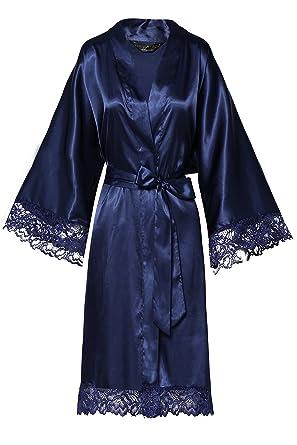 4f5de2e30e1360 ArtiDeco Damen Morgenmantel Maxi Lang Seide Satin Kimono Kleid Einfarbiger Bademantel  Damen Lange Robe Reine Farbe