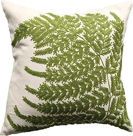 Amazon Com Creative Co Op White Square Cotton Pillow With Embroidered Green Ferns Home Kitchen