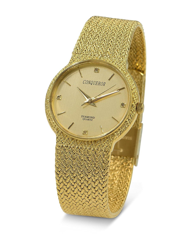 Conqueror Gold Ton Mesh Armband Unisex Quarz Kleid Uhr mit Diamant