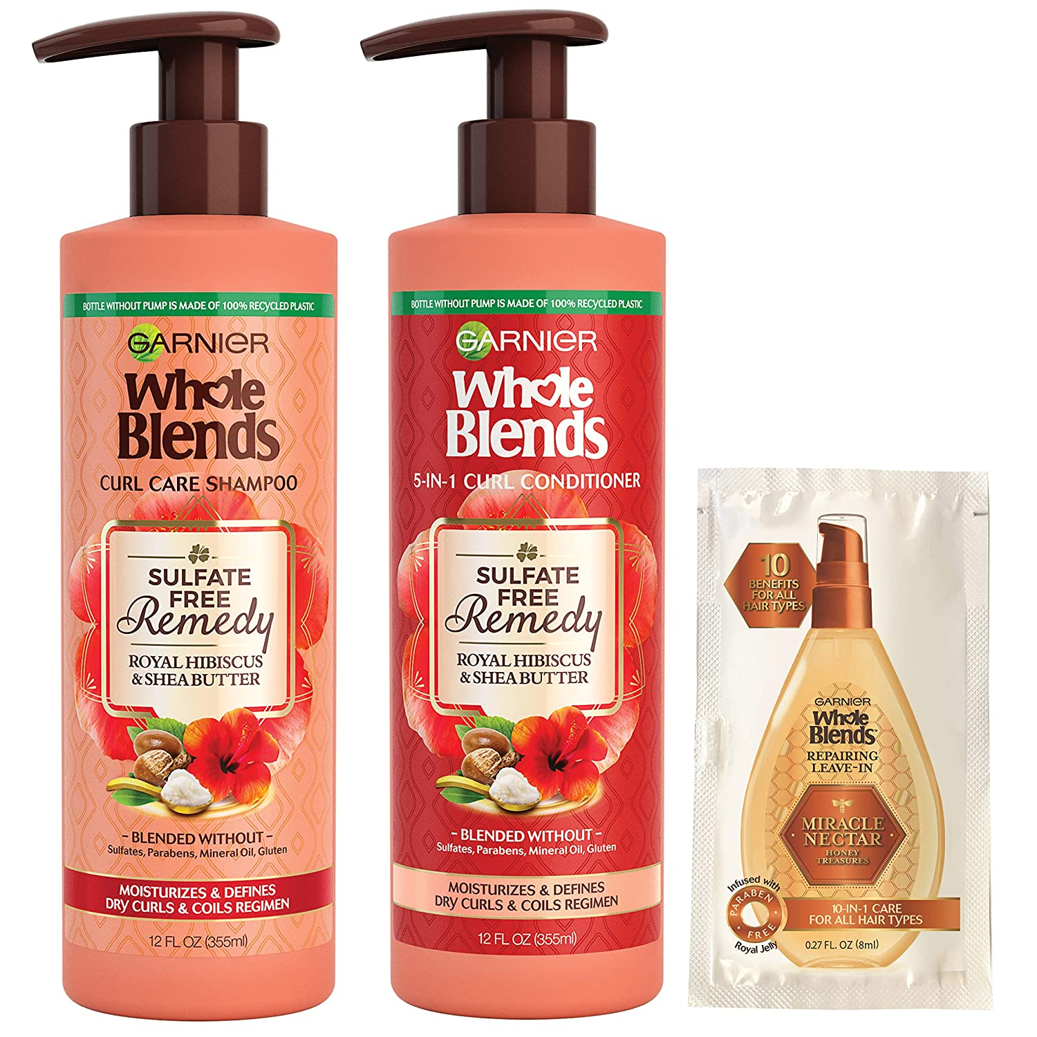 Garnier Haircare Whole Blends Sulfate Free Remedy Hibiscus and Shea Shampoo and Conditioner, for Dry Curls, with Sulfate-Free Leave-In Miracle Nectar Sample Packette (Packaging May Vary)