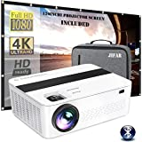 """Bluetooth Native 1080p Projector with 120"""" Projector Screen & Bag,9000 Lux 4k Projector for Outdoor Movies with 450""""Display,S"""
