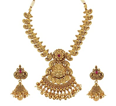 MUCHMORE Unique Gold Tone Lord Shiva Family Temple Jewelry Polki Necklace Set Traditional Jewellery gxGAsOIxwb