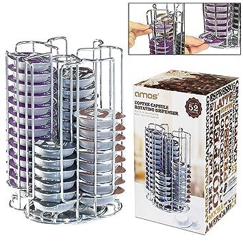 AMOS Soporte de 52 Cápsulas de Café Tassimo T-Disc Dispensador Giratorio Rotativo Porta Organizador Estante en Acero Inoxidable Torre de Almacenamiento: ...