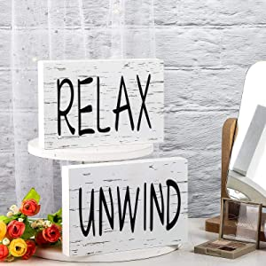 Hicarer 2 Pieces Wooden Tiered Tray Signs Decorations Art Words Print Wood Blocks, Unwind Relax, Yum Eat, Decorative Sign for Kitchen Window Sill Wall Decoration (Relax, Unwind)