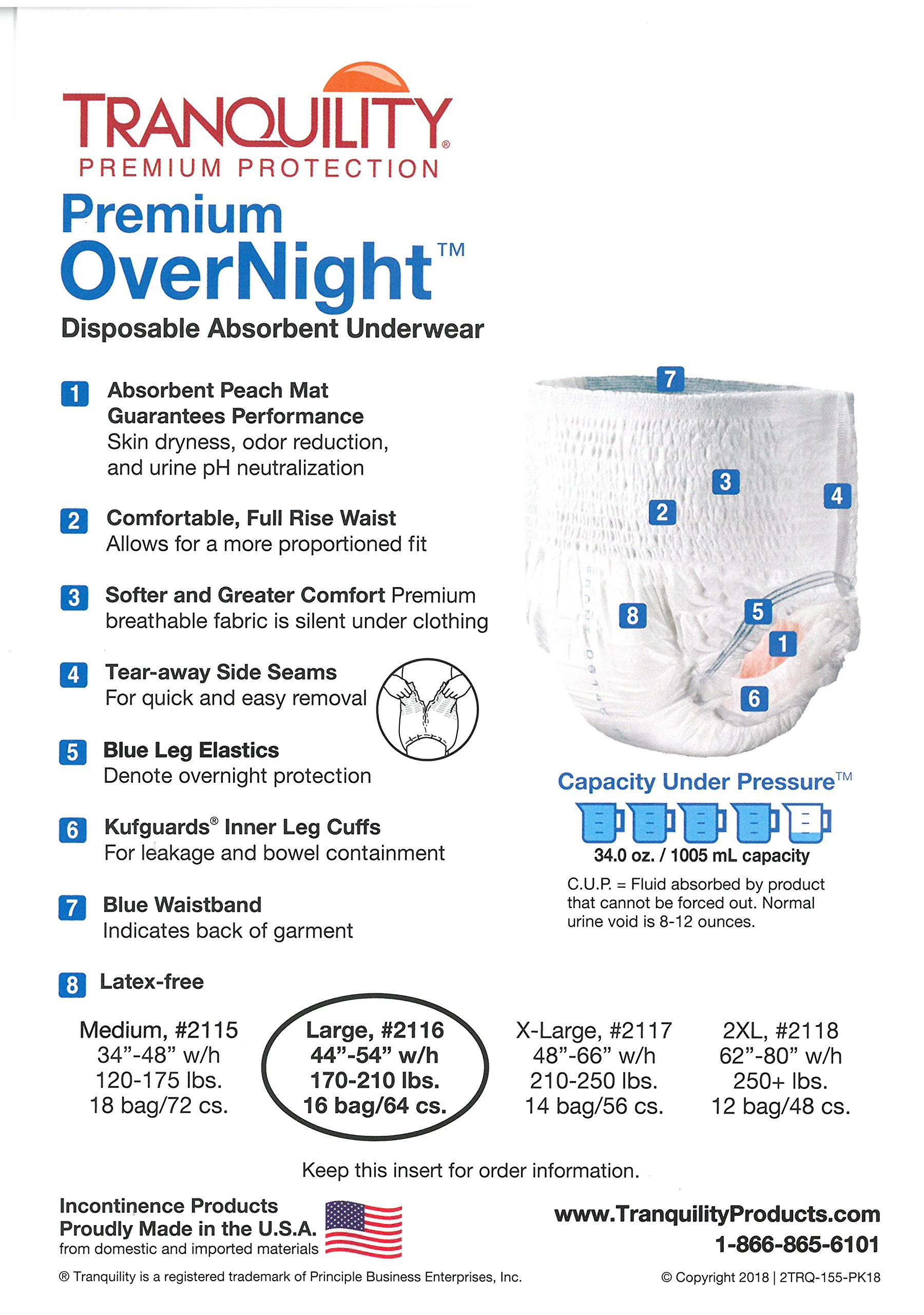 Tranquility Premium Overnight Disposable Absorbent Underwear (DAU) - Large - 2 Pack Sample by TRANQUILITY (Image #3)