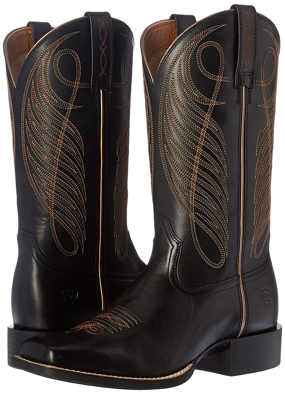 Ariat Women's Round up Wide Square Toe Western Cowboy Boot B01BQT5XTQ 6.5 B(M) US Limousine Black