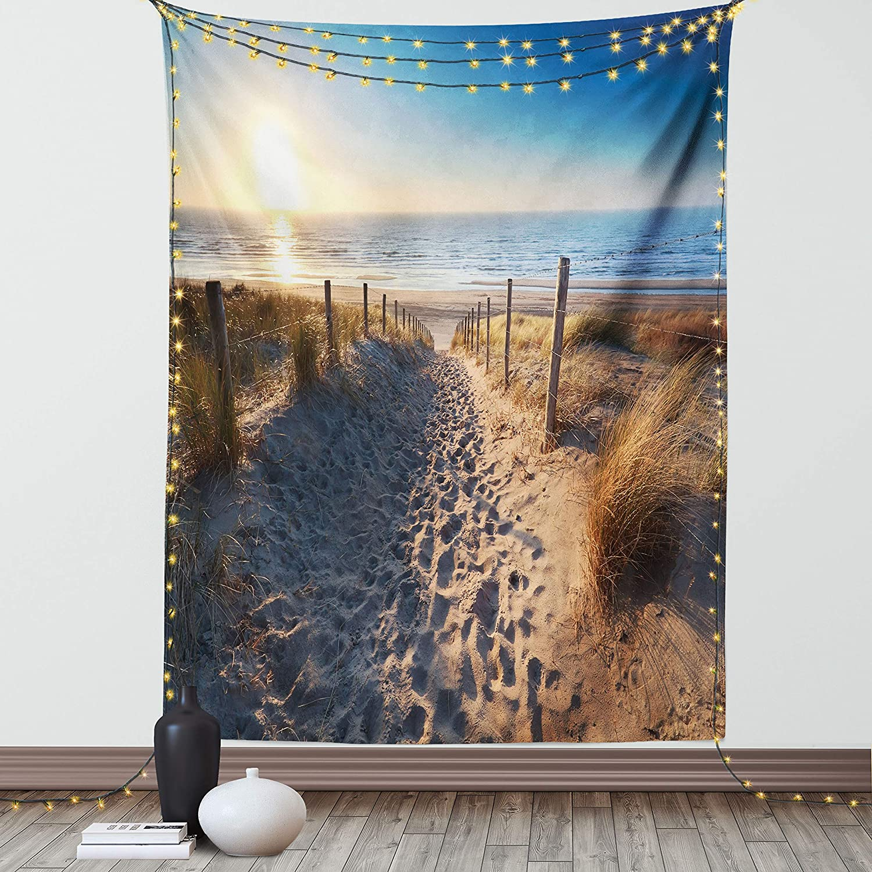 Ambesonne Europe Tapestry, Walkway to Beach in North Sea, Zandvoort Aan Zee, North Holland, Netherlands, Wall Hanging for Bedroom Living Room Dorm Decor, 60