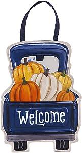 Evergreen Flag Fall Pumpkin Pickup Truck Door Décor