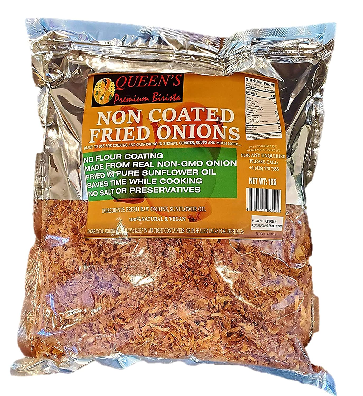 Queen's Non-Coated (NO Flour Coating) Fried Onions- 100% Natural & Vegan, GMO Free, Gluten Free, (2.2 Pounds)