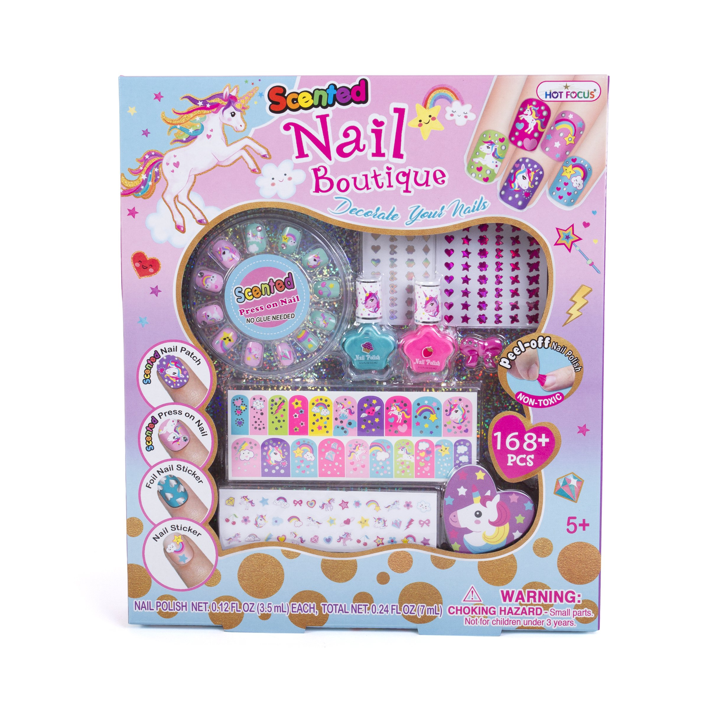 Hot Focus Scented Nail Boutique - 168 Piece Unicorn Nail Art Kit Includes Press on Nails, Nail Patches, Nail Stickers, Nail Polishes, Nail File and Ring - Non-Toxic Water Based Peel Off Nail Polish by Hot Focus