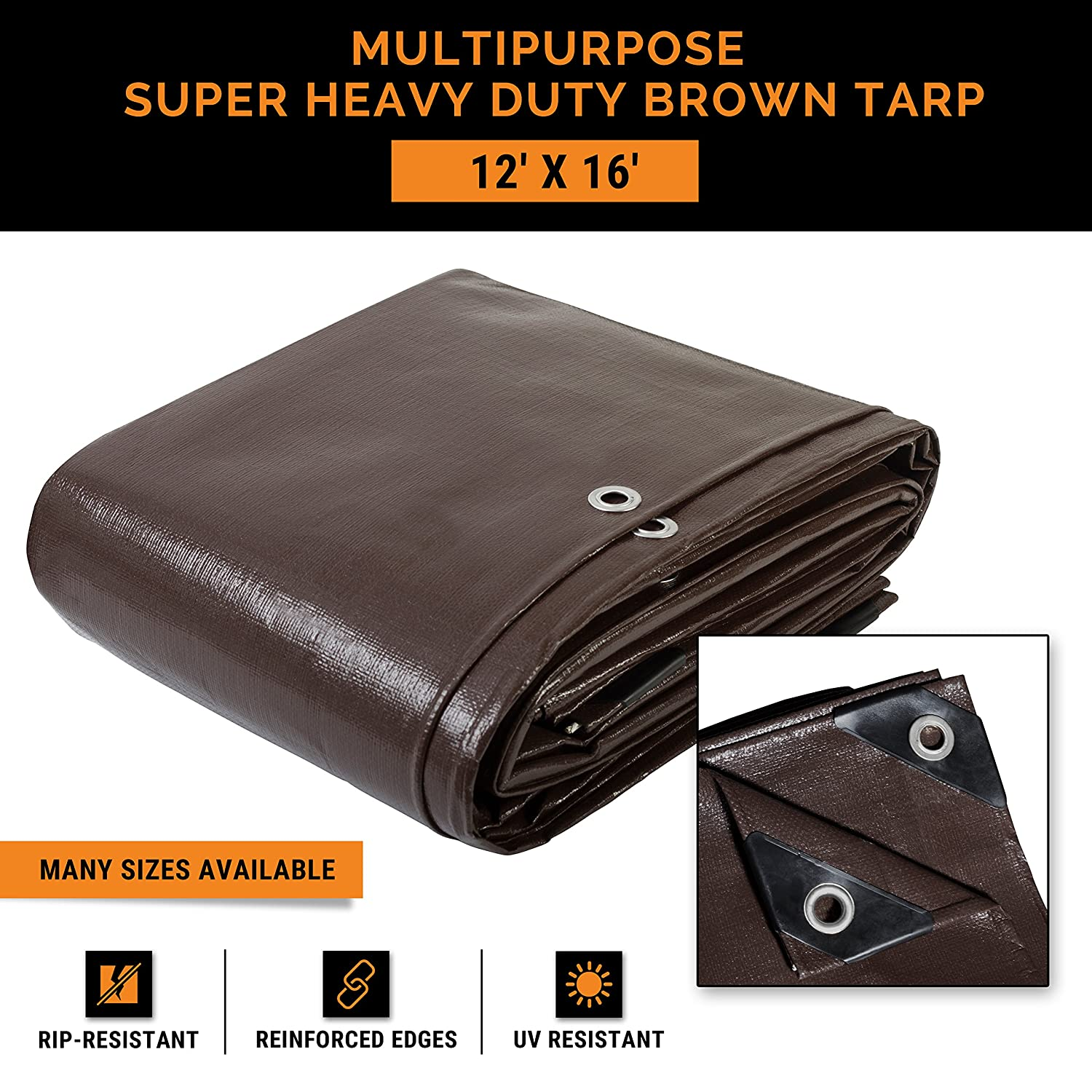 12' x 16' Super Heavy Duty 16 Mil Brown Poly Tarp Cover - Thick Waterproof, UV Resistant, Rot, Rip and Tear Proof Tarpaulin with Grommets and Reinforced Edges - by Xpose Safety