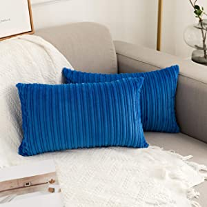 "UGASA Pack of 2, Velvet Pillow Covers Striped, Soft Textured Throw Cushion Case Set, Accent Corduroy Lumbar Pillowcases with Hidden Zipper for Home Decor Indoor Outdoor (12""x20"", Royal Blue)"