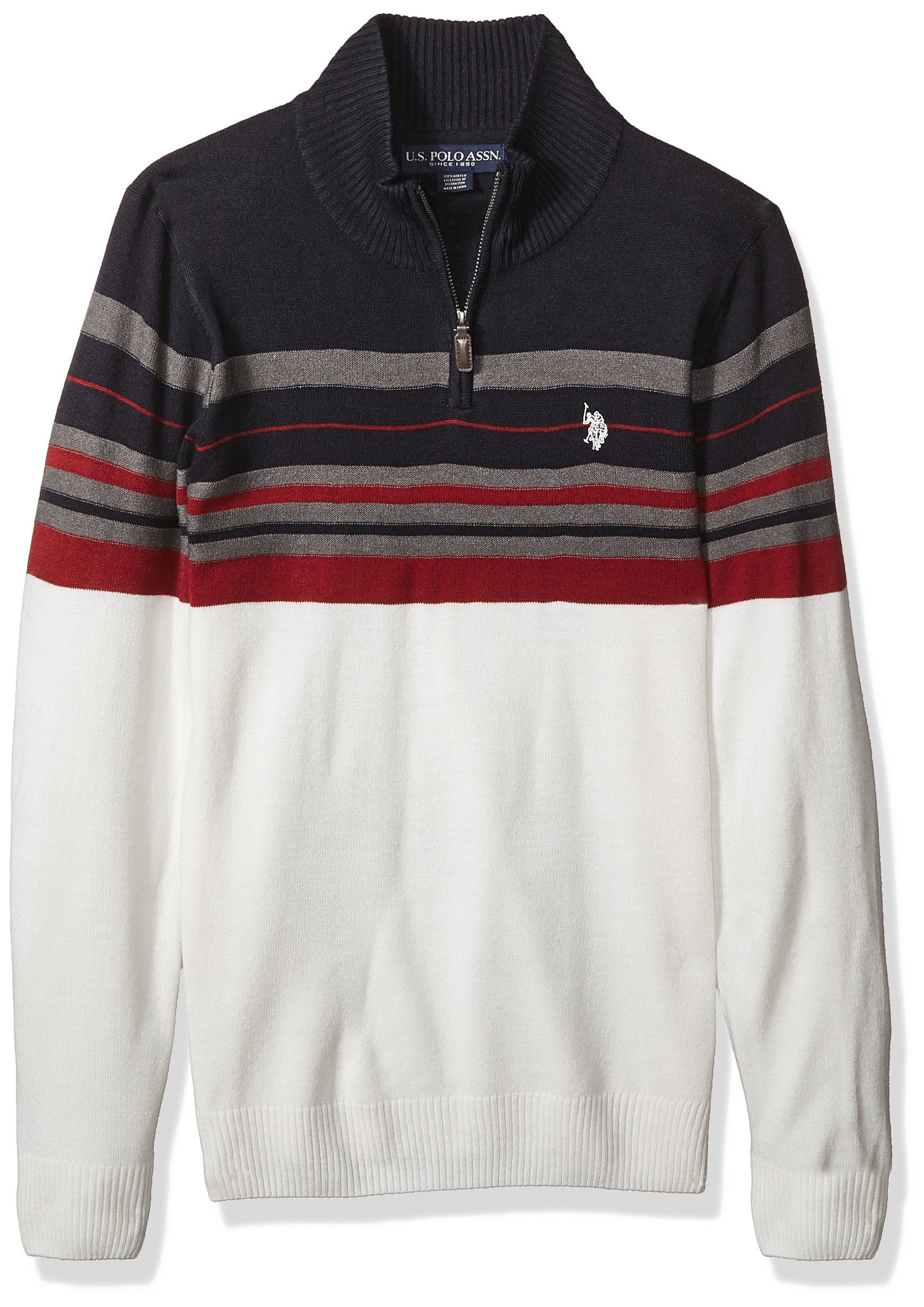 U.S. Polo Assn. Men's Multi Stripe 1/4 Zip Sweater, Navy, Medium