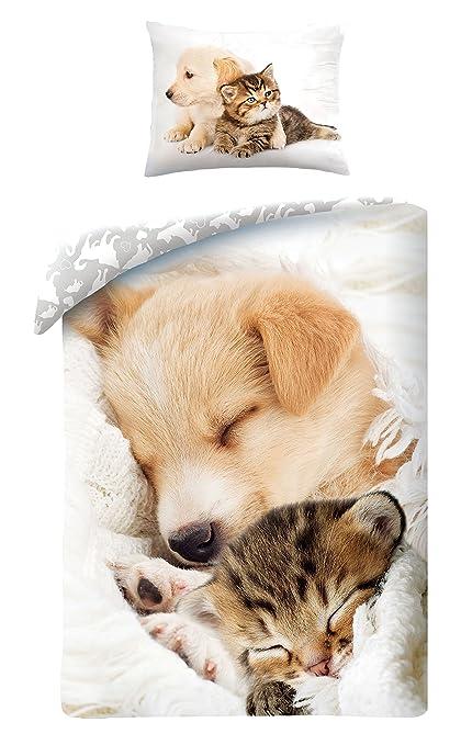 Halantex Juegos De Fundas para Edredón Gato y Perro Durmiendo Juntos Muy Adorable - Funda nórdica
