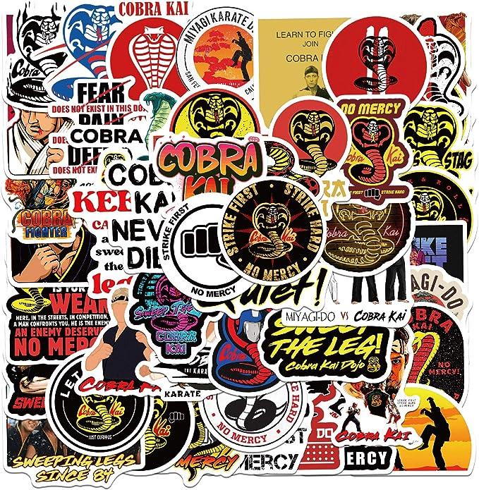 Cobra Kai TV show Stickers Pack| 50pcs PVC Vinyl Waterproof Karate Kid Cobra Kai Dojo Logo Stickers for Water Bottle Laptop Wall Decor Snowboard Xbox Birthday Decorations Gift for Teen Boys and Girls: Amazon.ca: Baby